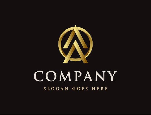 Logotipo de seta dourada moderna