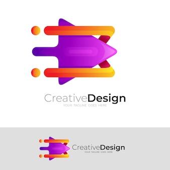 Logotipo de seta e ícone de velocidade de combinação de design de reprodução