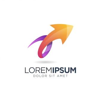 Logotipo de seta laranja roxo