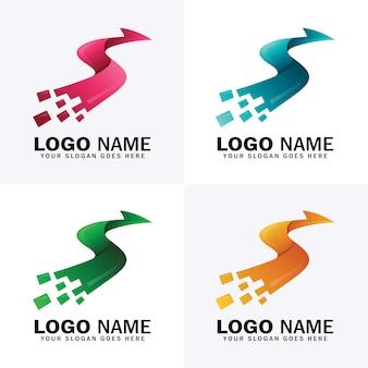 Logotipo de seta letra s com quatro opções de cores diferentes