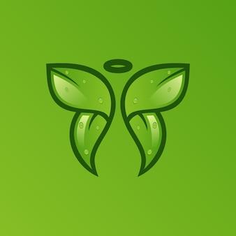 Logotipo de significado duplo de folha de borboleta
