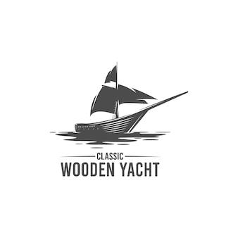 Logotipo de silhueta clássica de iate de madeira