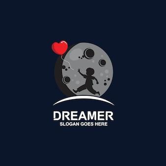 Logotipo de silhueta de balão de menino perseguindo
