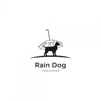 Logotipo de silhueta de cachorro chuva