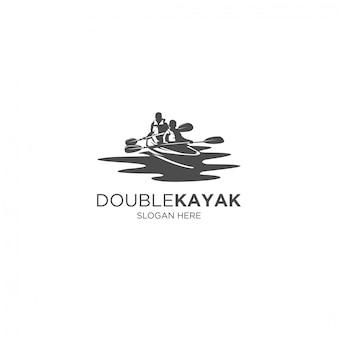 Logotipo de silhueta de caiaque duplo