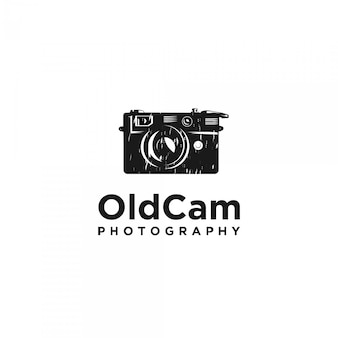 Logotipo de silhueta de câmera vintage