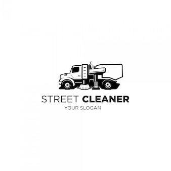 Logotipo de silhueta de caminhão limpador de rua