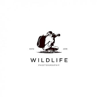 Logotipo de silhueta de fotógrafo de vida selvagem