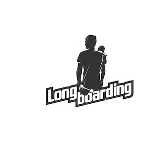 Logotipo de silhueta de homem de longboard