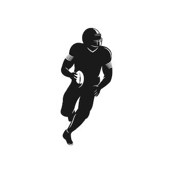 Logotipo de silhueta de jogador de futebol americano