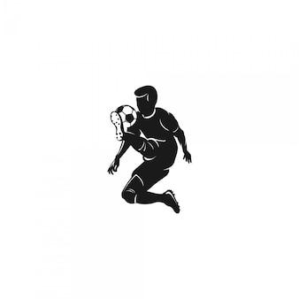 Logotipo de silhueta de jogador de futebol