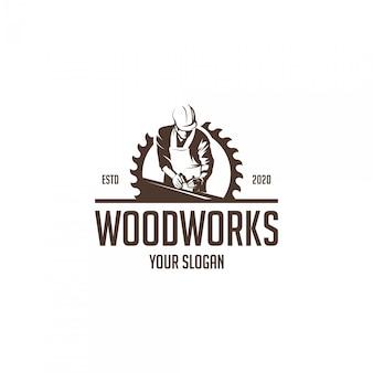 Logotipo de silhueta de obras de madeira vintage