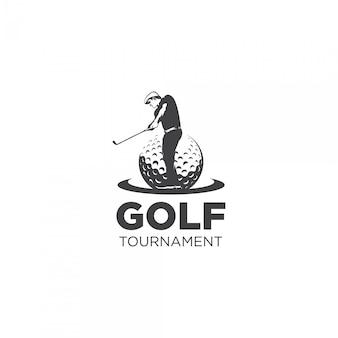 Logotipo de silhueta de torneio de golfe