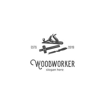 Logotipo de silhueta de trabalhador de madeira
