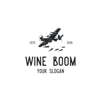 Logotipo de silhueta de vinho de aeronaves