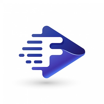 Logotipo de símbolo de jogo rápido com letra f