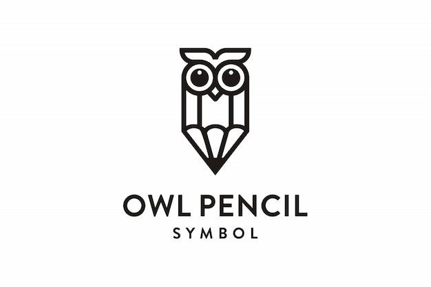 Logotipo de símbolo de lápis de coruja