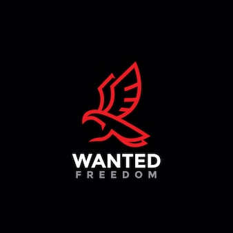Logotipo de símbolo de liberdade de pássaro minimalista