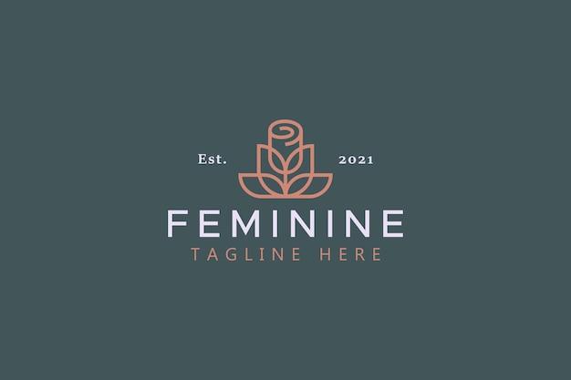 Logotipo de símbolo feminino geométrico simples de flor de rosa