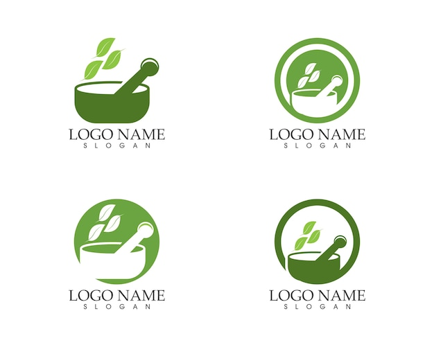 Logotipo de sinal de ícone de farmácia herbal