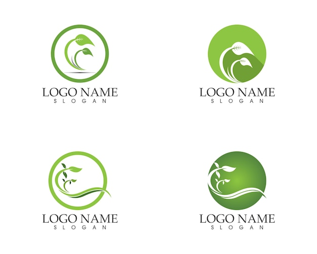 Logotipo de sinal de ícone de folha de natureza