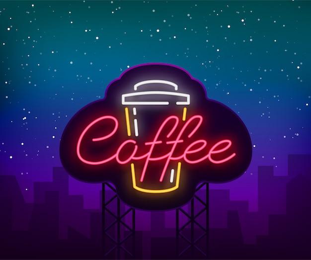 Logotipo de sinal de néon café