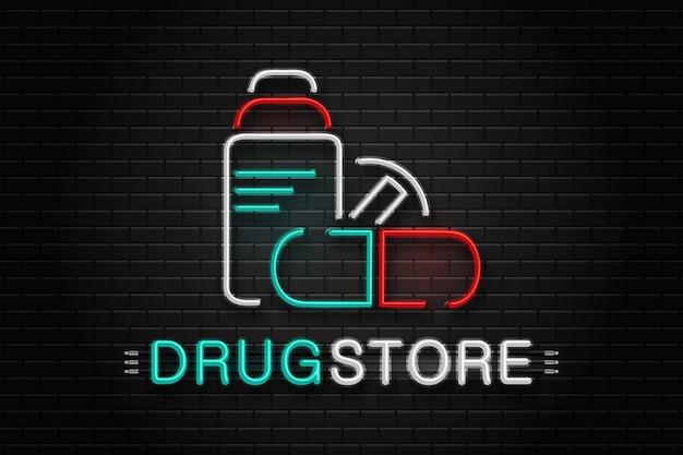 Logotipo de sinal de néon realista para drogaria para decoração no fundo da parede.