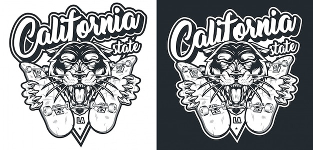 Logotipo de skate vintage monocromático