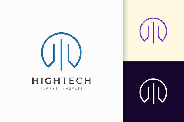 Logotipo de software ou tecnologia em forma de linha abstrata