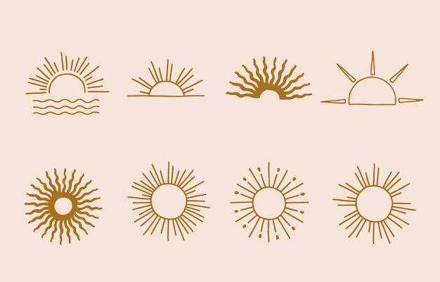 Logotipo de sol de linha marrom com cheio e meio