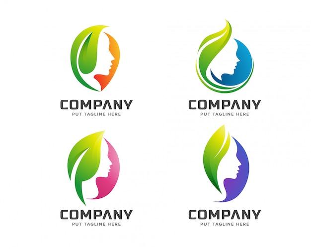 Logotipo de spa verde de beleza criativa
