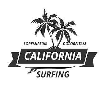 Logotipo de surf com palmeira