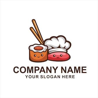 Logotipo de sushi fofo