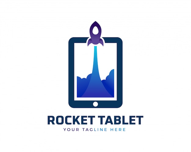 Logotipo de tablet de foguete criativo