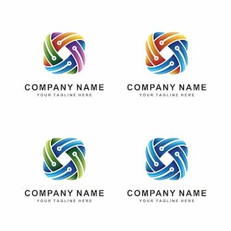 Logotipo de techno abstrata moderna
