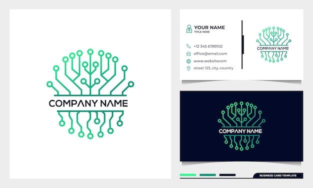 Logotipo de tecnologia de conexão de árvore, inspiração de design de logotipo de árvore da vida com modelo de cartão de visita