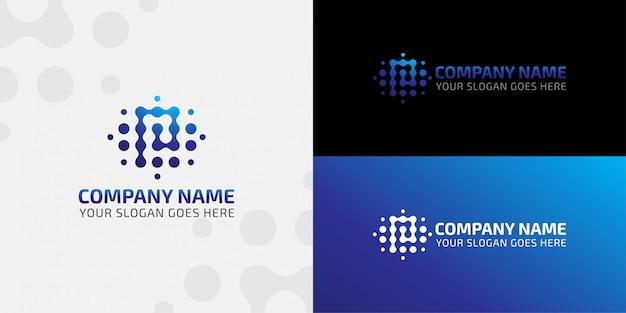 Logotipo de tecnologia de conexão letra p dot