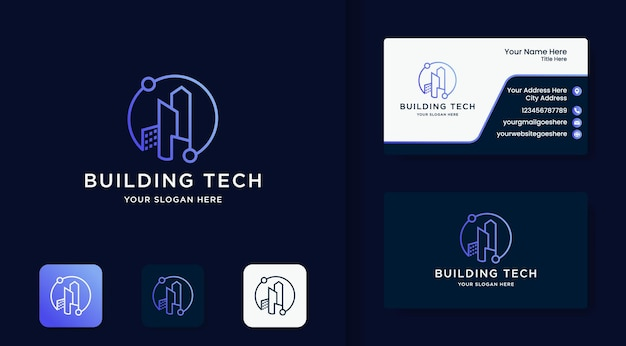 Logotipo de tecnologia de construção com circuito circular e cartão de visita