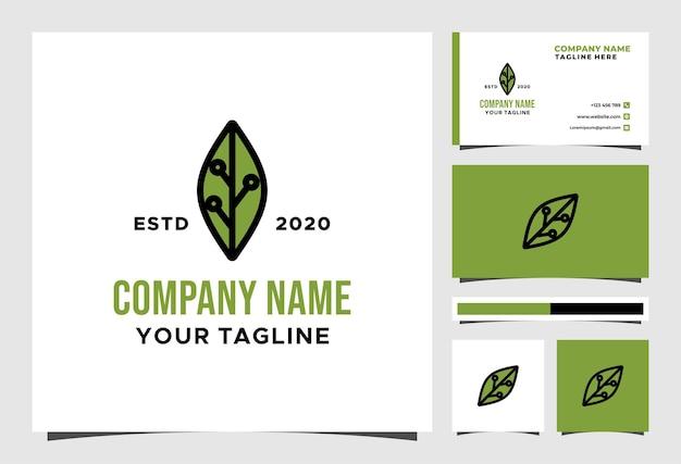 Logotipo de tecnologia de folha ecológica e design de vetor de cartão de visita