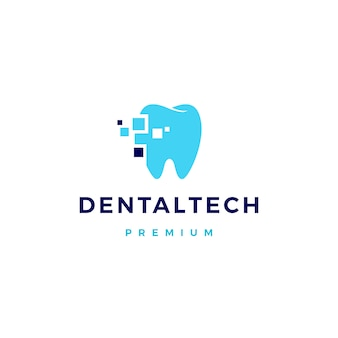 Logotipo de tecnologia dental pixel