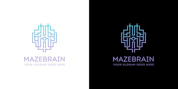 Logotipo de tecnologia do cérebro de inteligência artificial