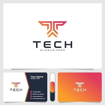 Logotipo de tecnologia e modelo de design de cartão de visita