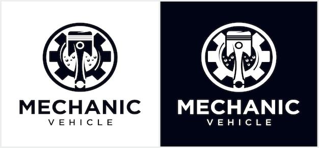 Logotipo de tecnologia mecânica do motor logotipo de pistão automotivo logotipo logotipo de pistão moderno vetor