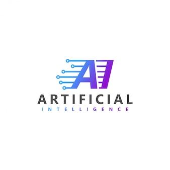 Logotipo de tecnologia moderna de inteligência artificial