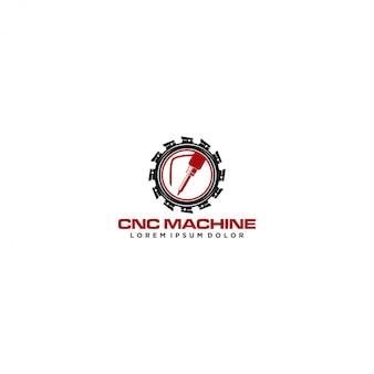 Logotipo de tecnologia moderna de máquina cnc