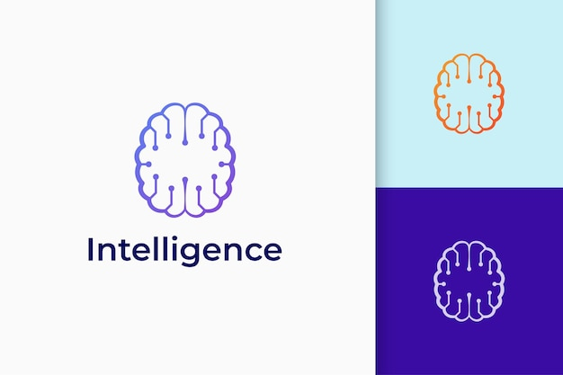 Logotipo de tecnologia ou ciência em formato de cérebro representa conhecimento e ideia