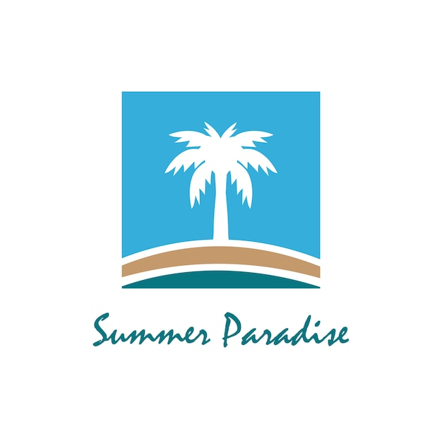 Logotipo de tema de praia e verão com modelo de design de palma três
