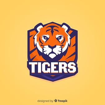 Logotipo de tigre esporte plana