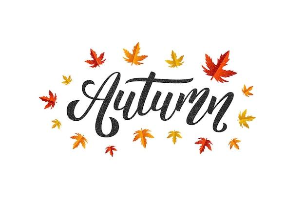 Logotipo de tipografia de outono isolado realista com bordo vermelho e laranja e folhas de carvalho para decoração e cobertura no fundo branco.