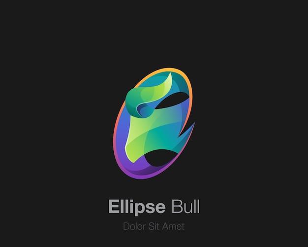 Logotipo de touro com elipse colorido abstrato